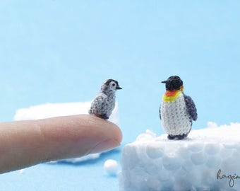 Tiny crochet Penguins, Miniature penguin family, Amigurumi animals