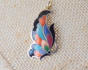 Vintage Cloisonne Pendant Retro Butterfly Pendant, Cloisonne Multicolor Pendant, Simple Cloisonne 70's Jewelry, Butterfly Jewelry