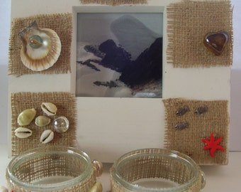 Set of Marine Photoframe and 2 candlers, Wall decor, Wall hanging, Sea, underwater, beach house, marine botanical picture decor, candelstick