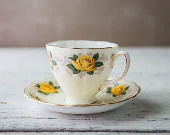 Vintage Rare Colclough Fine Bone China Collectible Tea Cup and Saucer-Food Photography Props