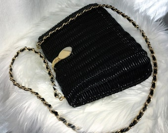 Vintage Black Wicker Handbag