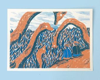 Jurassic Park - 2 colour Screenprint / silkscreen artprint - Dinosaur