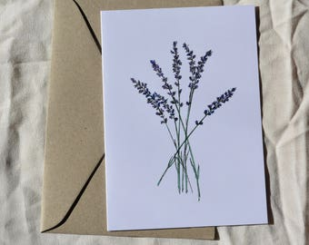 Lavender print, illustrated greeting card, floral greeting card,