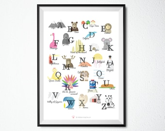 Printable English Alphabet, A4, A3, 8x10 in, 11x14 in, 24x36in Nursery Poster, Educational Print