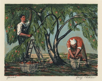 "HARRY SHOKLER (America, 1897-1978), ""Harvest"", ca. 1950, serigraph, pencil signed"