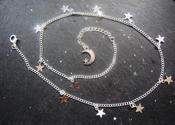 Twinkle little stars silver plated necklace, Stars and moon necklace, Star jewellery, silver stars necklace, Minimalist jewelry, Boho chic