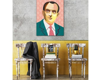 """Portrait """"Antoine"""" personalized framed pop art gift for book lovers wallart XL art prints iconart gift ideas fine art for him Ready To Hang"""