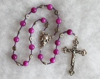 Violet Tenner Rosary; Handmade; pocket rosary; single Decade Rosary; Catholic Prayer Beads