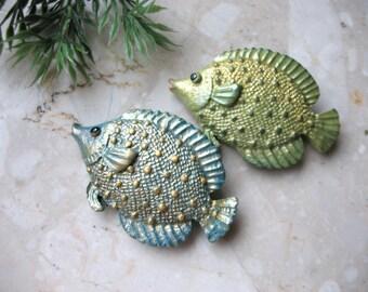 Fish brooch, polymer clay fish pin brooch