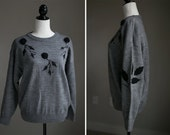 Grey Sweater with Black Rose Detailing and Beading