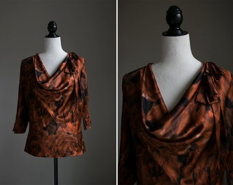 Silk Patterned Cowl Neck Blouse