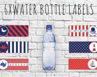 Nautical Water Bottle Tags,Nautical Water Bottle Wrappers, Nautical Labels, Nautical Wrappers