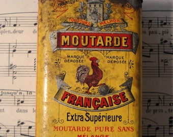 Rare Antique French Mustard Tin Box c1900 Moutarde Francaise