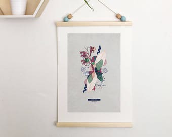 Botanical poster. Canna indica #TROPICALE - 4;  Limited edition natural & graphic poster. Wall decoration. Jungle print