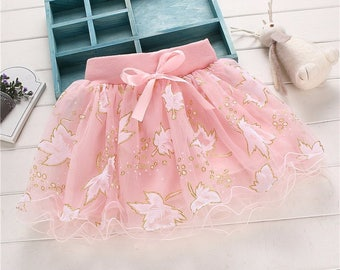 Girls Ballet Tutu Pettiskirt with Sparkly Gold Accents in Pink