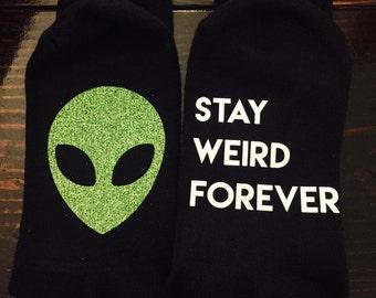 Stay Weird Forever Aliens Believe  UFO Glitter Socks READY to SHIP
