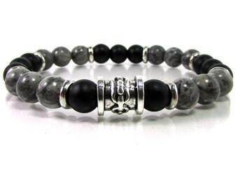 Grey Jasper and Black matte Onyx Mens Bracelet, Handmade Mens Bracelet,Mens Gift,Mens Bracelet,Gift for Men,Mens Gemstone Bracelet