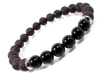 Brecciated Jasper and Onyx Bracelet,Men Bracelet,Mens Gift,Mens Bracelet,Men Gemstone Bracelet,Bracelet for Men,Gift for Him,Beaded Bracelet
