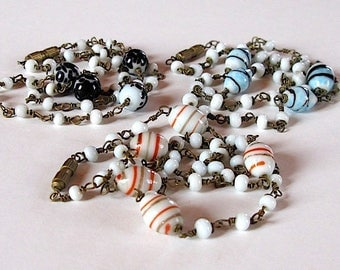 Vintage art deco venetian end of day candy colored art glass beads millefiori necklaces