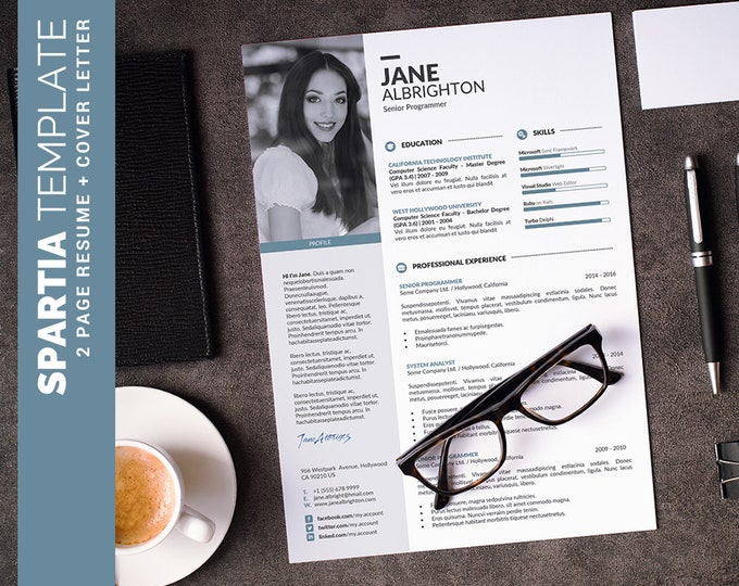 Modern Resume Template / CV Template, Creative Word Resume Design + Cover Letter, Modern Curriculum Vitae, Instant Download | Spartia Resume