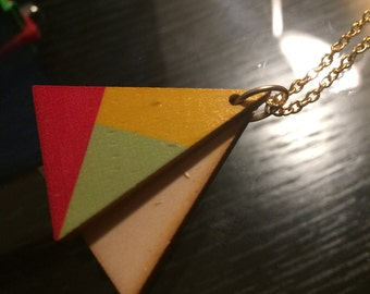 Minimalist geometric necklace with a wooden triangle pendent