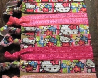 "5/8"" Hello Kitty Themed Elastic Hair Ties, Set of 8 Hair Ties For Birthday Parties, Party Favors, Goodie Bags, Gifts, Yoga Hair Ties"