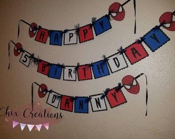 Spider man birthday banner