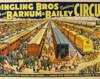 Ringling Bros - Barnum & Bailey - Circus Poster - Wall Art - Circus Print - Circus Art - Circus Lover - 12x18 - 24x36 (JS00047)