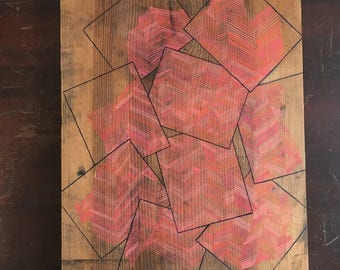 Original small abstract gouache painting on recycled wood