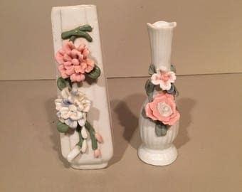 2 Bone China / Porcelain Bud Vases / Floral Design / China flower vases