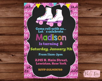 Roller Skating Party Invitations - Roller Skating Invitations - Roller Skating Birthday Party Invites - Roller skating invitation for girls.