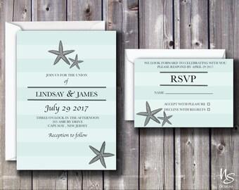 Starfish, Beach Printable Wedding Invitation & RSVP