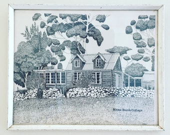 Framed Australiana Binna-Burra Cottage Print Wall Art