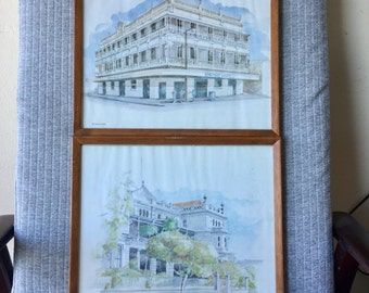 Pair Brisbane Architecture Watercolour Prints Empire Hotel and Queensland Club Framed Prints