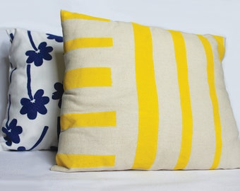 Yellow Stripe Hand Screen Printed Cushion - Small Oblong - 10 x 14 inches