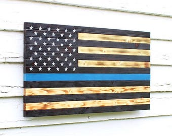 Thin Blue Line Flag, Wood Flag, Police Officer Flag, Wooden Flag, Burnt Wood Flag, American Flag, Police Flag, Charred Wood Flag, Rustic