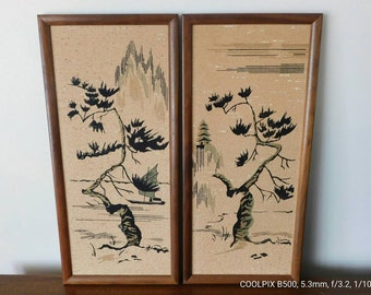 """ON SALE till May 15 shipping included Vintage Asian Art by Bellart Inc. 1960 """"Ming Tree"""""""