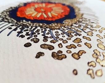 Framed hand painted golden orange cluster embellisment