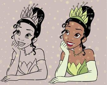 Disney princess Tiana princess and the frog SVG cutting ESP vector instant download