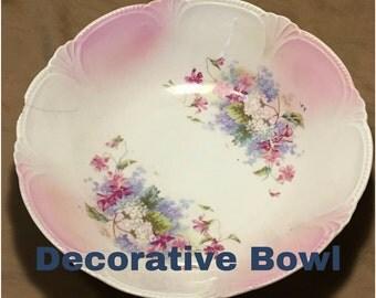 9in Vintage Floral Pattern Decorative Bowl