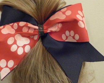Cheer Bow Black and red with white paw prints