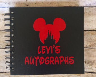 Custom Disney Autograph Book- Mickey mouse with castle - Personalized - Glitter