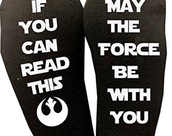 If You Can Read This May The Force Be With You Star Wars Socks Mens Or Womens Novelty Gift Birthday Star Wars Lover Gift