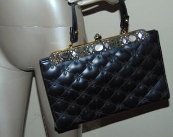 Vintage Leather Padded Beaded Purse
