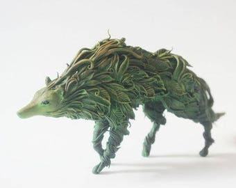 Figure deciduous wolf,forest wolf statuette,wolf sculpture