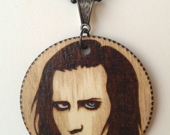 Marilyn Manson Woodburned and Stained Portrait Circle Necklace