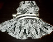 Octopus & Victorian skulls small dog princess tea party dress with harness option made of cotton fully lined w/ goth steampunk appeal