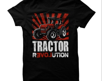 TRACTOR REVOLUTION T-SHIRT,tractor t-shirt,tractor collectors t-shirt,tractor gift,tractor tee,red tractor t-shirt,farmers tractor t-shirt.
