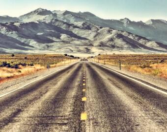 Nevada Desert Photography, Travel Photography, Nevada Desert Art, Nevada Desert Road, Desert Mountains, Large Wall Art Print
