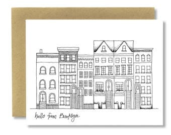 Brooklyn Brownstones (Horizontal) - A2 Card (Single or Set of 5)